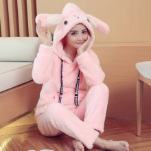 Female Coral Fleece Pyjamas Autumn Winter Thick Warm Women Pajamas Set Cartoon Long Sleeve Sweet Cute Girls Pijama Mujer Sleepwear(China)