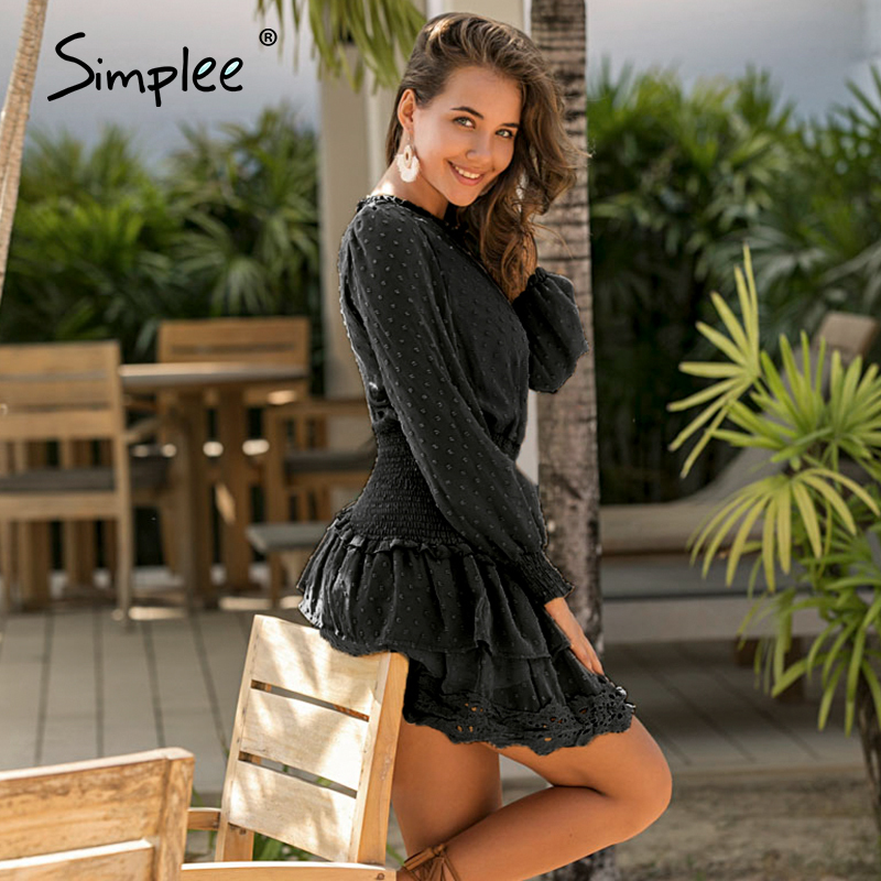 Image 5 - Simplee Polka dot lace embroidery women dress Elegant ruffle elastic waist female mini dresses Spring summer ladies dresses 2020Dresses   -