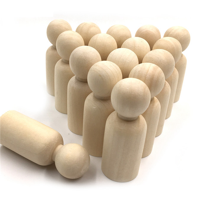 20pcs 35mm Boy And Girl Wooden Peg Dolls Unpainted Figures DIY Arts Crafts Supplies Kids Baby Toys Christmas Home Decorations