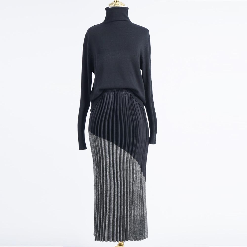 Вязаная плиссированная юбка Женская Осенняя зимняя одежда милая мусульманская Harajuku юбка с высокой талией Женская Корейская длинная