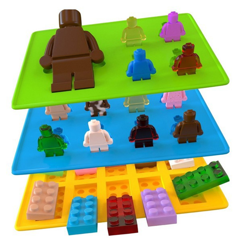 1PC Silicone Candy Soap Molds&Ice Cube Trays Building Bricks And Little Man Robot Chocolate Strawberry Bar Jello Mold Shapes