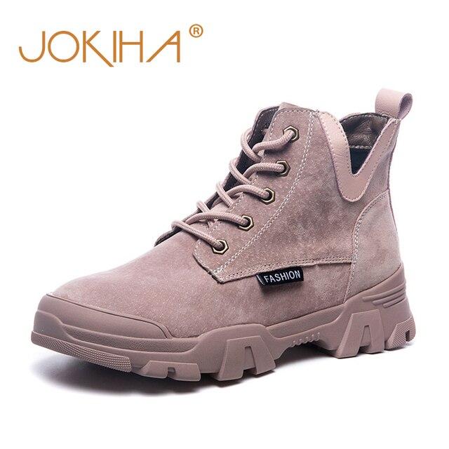 2020 chính hãng Ủng Da Cá Nữ Thời Trang Giày Sneakers Nữ Phẳng Nền Tảng Giày Boot Nữ Bootties Thu Giày