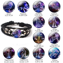 New 12 Constellation Bracelet Charms Zodiac Sign Glass Cabochon Punk Jewelry Black Multilayer Leather Women Men Gift