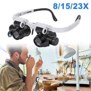 Headband Glasses Magnifier 8X/15X/23X Magnifying Glass LED Light Optical Lens Glass Magnifier Loupe Professional Magnifier цена 2017