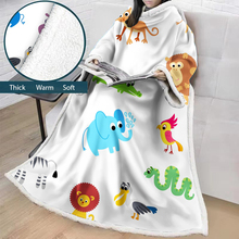 cartoon animals Big Super Soft Throw Blanket Long Shaggy Warm Elegant Cozy Sherpa With Large Sleeves Hooded TV Blankets  BS27