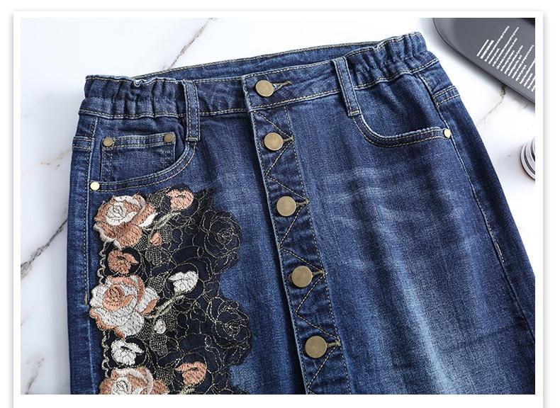 KSTUN Women Skirt Summer Fashion High Waist Step Skirt Embroidered Elastic Waist Denim Skirts Woman Single Button Push Up Jeans Skirt 20