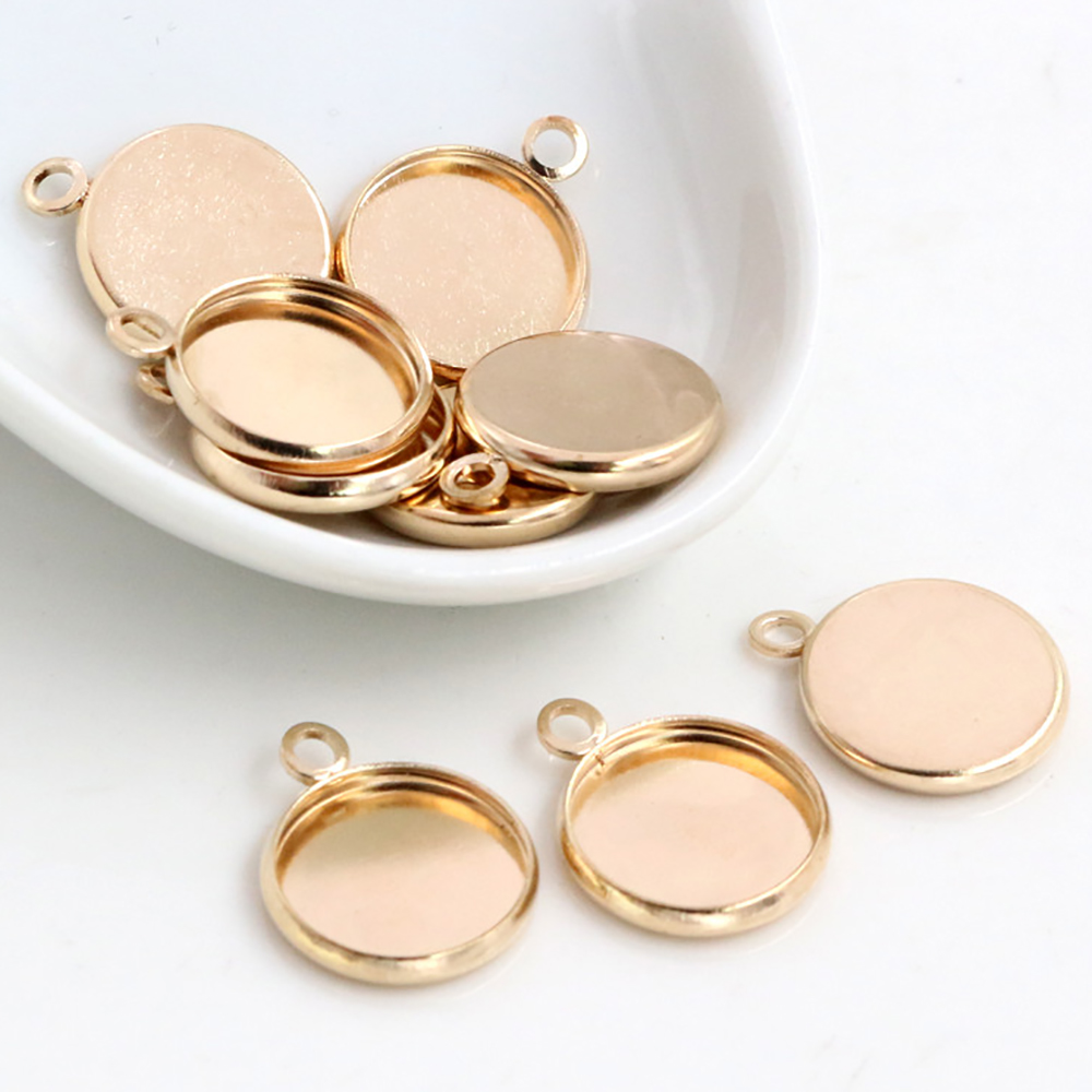 50pcs/Lot 12mm Inner Size KC Gold Colors Plated High Quality Iron Material Fit 12mm Cabochons Pendant Tray-S2-09