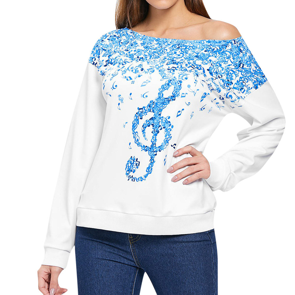 JAYCOSIN Fashion Women Simple Casual Loose Musical Notes Print Sweatshirt Long Sleeve Comfortable Soft Round Neck Irregular Top