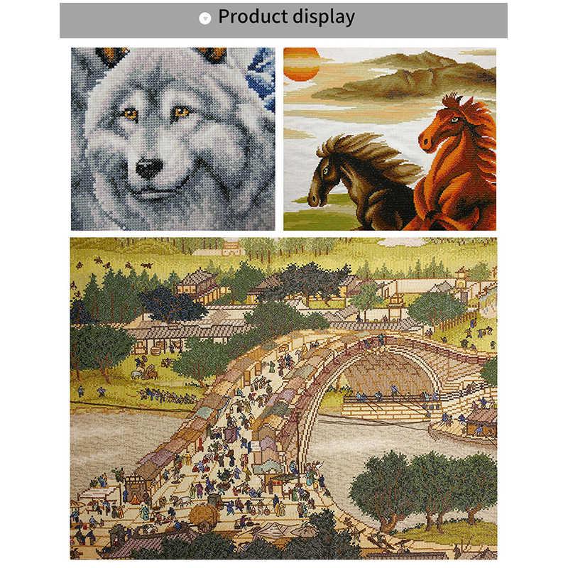 Freude Sonntag Die lion entlang DMC 11CT 14CT tier Kreuz Stich Gesetzt Handgemachte DIY Stickerei Hand Kit Für Geschenk Hause decor