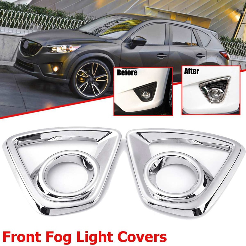 Bumper <font><b>Fog</b></font> <font><b>Light</b></font> Chrome Garnish for <font><b>Mazda</b></font> Cx-5 <font><b>Cx5</b></font> 2013-2015 Car Rear Tail <font><b>Lights</b></font> Lamp Shade Frame Trim <font><b>Cover</b></font> Styling image