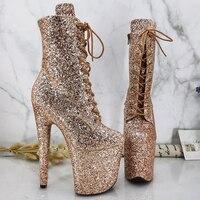 Leecabe-Zapatos con plataforma y tacón alto para mujer, calzado de baile en barra, con purpurina, 20CM/8 pulgadas, Fiesta disco
