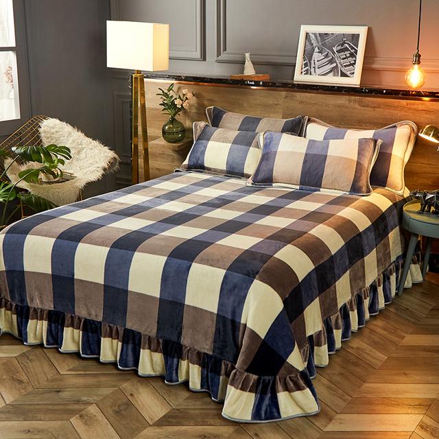 Winter Warm Coral Fleece Bed Sheet Thicken Soft Plush Bedsheet Queen King Size Bed Sheet Velvet Flat Sheet