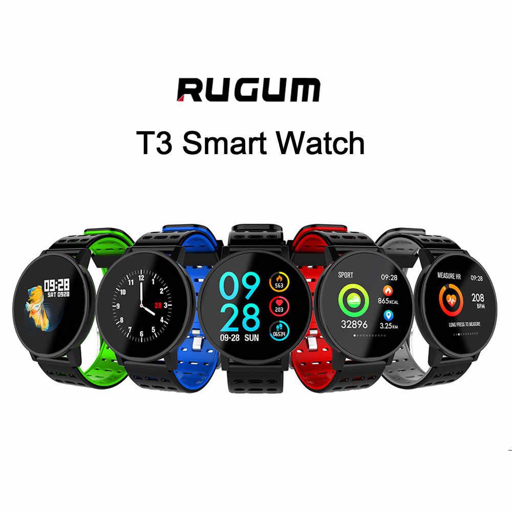 Rugum T3 inteligentny zegarek ciśnienie krwi tlen zadzwoń wiadomość z przypomnieniem śledzenie aktywności inteligentna bransoletka kolorowy ekran dla mężczyzn