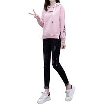 Europejska moda jesień nowy kobiety haftowane kurtka z polaru bluzy z kapturem i drelich Bodycon spodnie jeansowe dwóch sztuk odzież zestaw garnitury wypoczynku tanie tanio OLONIYA REGULAR Pełna Zipper fly COTTON Elastan Poliester Pełnej długości Swetry Kostek Na co dzień Stałe