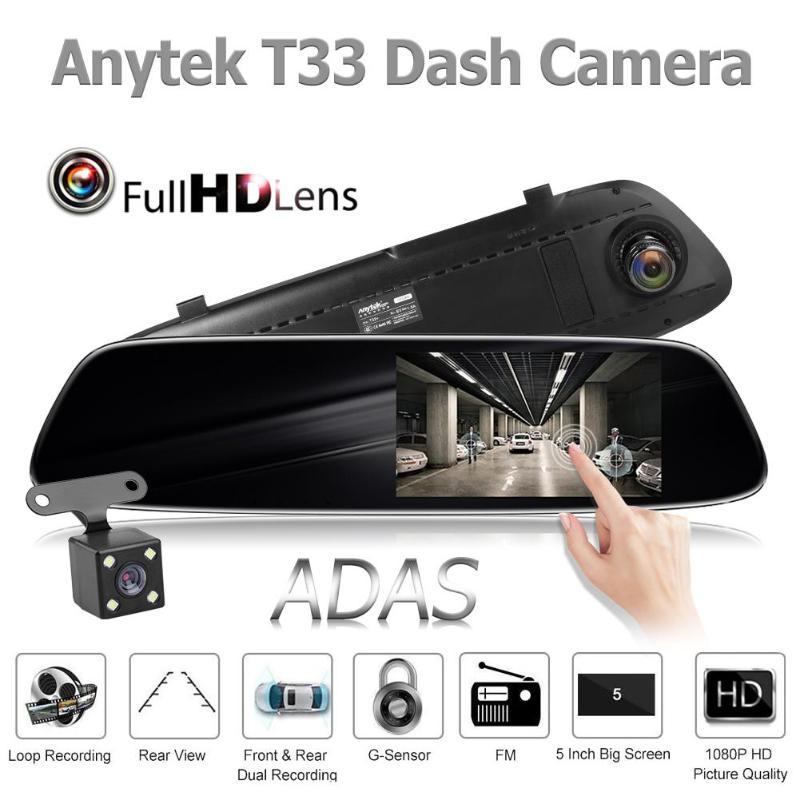 Anytek-caméra DVR de voiture T33 + 5.0 pouces   2,5d, rétroviseur en verre incurvé, Dashcam Automobiles, ADAS Dash Cam, enregistreur vidéo