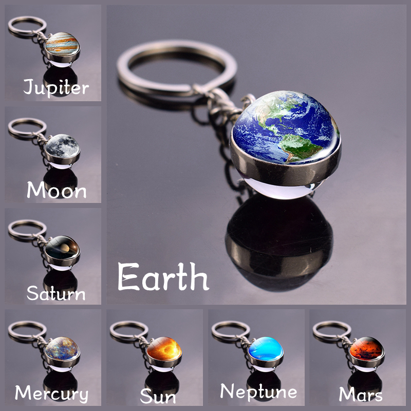 Earth Moon Keychain Galaxy Solar System Planet Glass Ball Pendant Keyrings Universe Sun Jupiter Double Side Glass Ball Jewelry