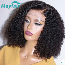 цена на Bob Lace Front Human Hair Wigs Indian Kinky Curly Human Hair Wig For Black Women 150% Short Wigs 13x4 Remy Lace Front Wigs