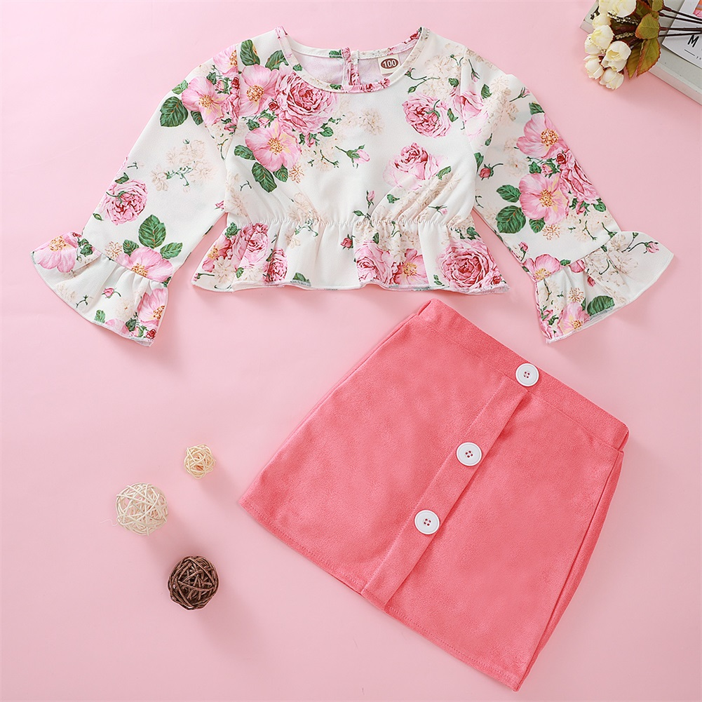 Pudcoco Toddler Baby Girl Clothes Flower Print Flare Long Sleeve Crop Tops Button Mini Skirt 2Pcs Outfits Cotton Clothes