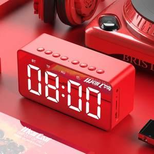 Image 2 - נייד אלחוטי bluetooth 5.0 רמקול סטריאו בס LED תצוגה כפולה שעון מעורר מראה TF כרטיס 4D רמקול עם מיקרופון
