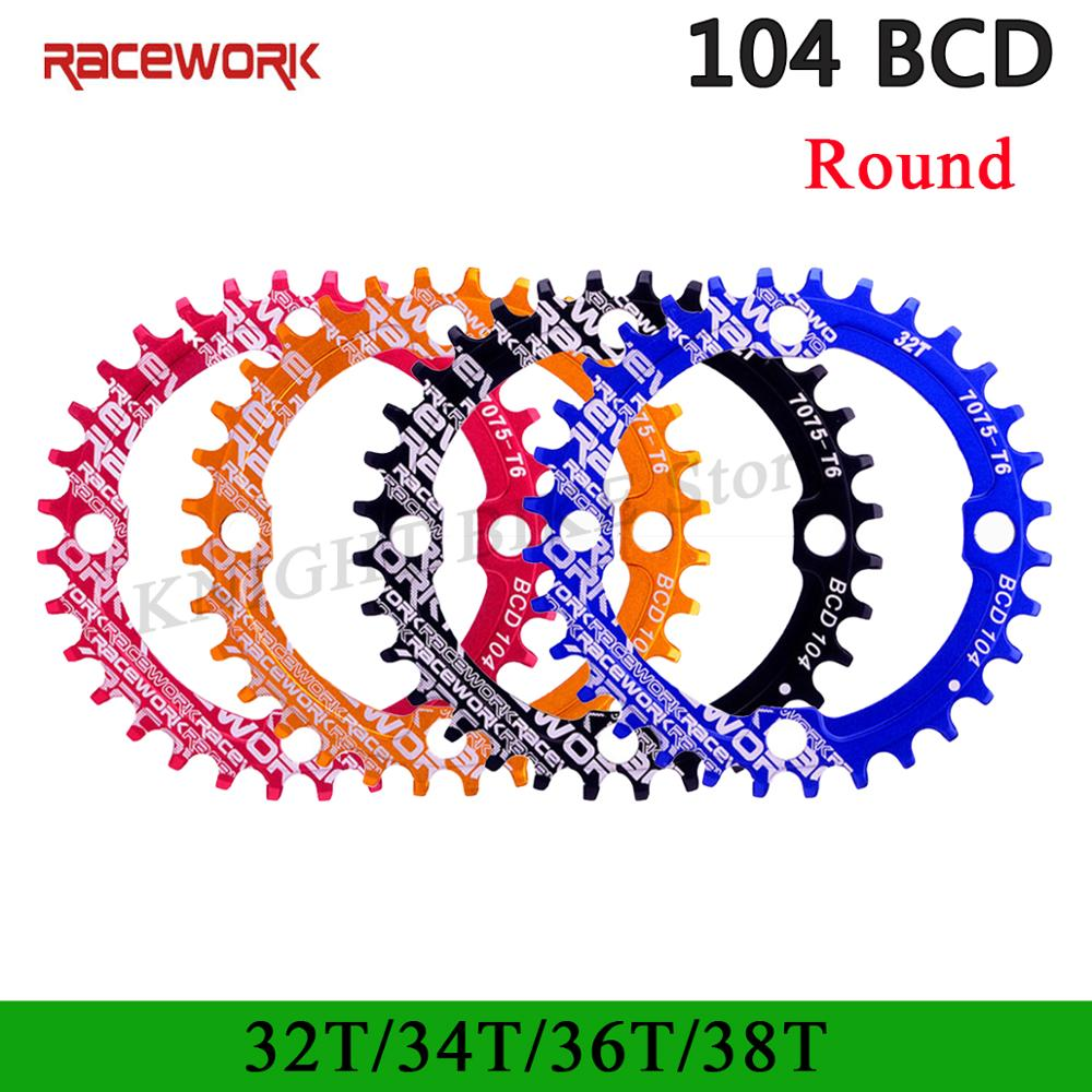 Racework 104BCD Round Narrow Wide Chainring MTB Mountain bike bicycle 104BCD 32T 34T 36T 38T crankset Tooth plate Parts 104 BCD