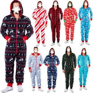 Autumn Winter Men Warm Christmas Elk Snowman Print Long Sleeve Pajamas Jumpsuit Leisure Cotton Sleepwear Soft Home Clothes