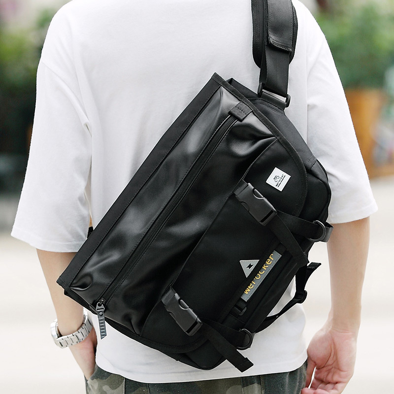 Shoulder Bag Men's Fixed Gear Bag Trend Europe And America Messenger Bag Pu Fashion Man Casual Street Women's High School Studen image