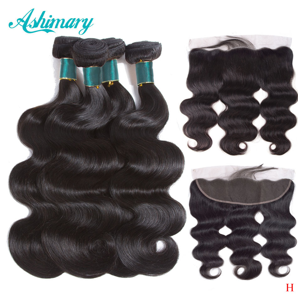 Ashimary Brazilian Body Wave Bundles With Frontal  Lace Frontal Closure With Bundles Remy Human Hair Bundles With Closure