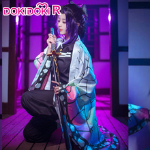 DokiDoki RอะนิเมะCosplay Demon Slayer: kimetsuไม่มีYaiba Kochou Shinobuเครื่องแต่งกายฮาโลวีนผู้หญิงเครื่องแต่งกายKimetsuไม่มีYaibaคอสเพลย์