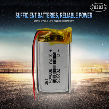 3.7V 500mAh 702035 Lithium Polymer Li-Po Rechargeable Battery For bluetooth speaker MP5 GPS DVD PDA PDA LED Light Li-ion Cell image
