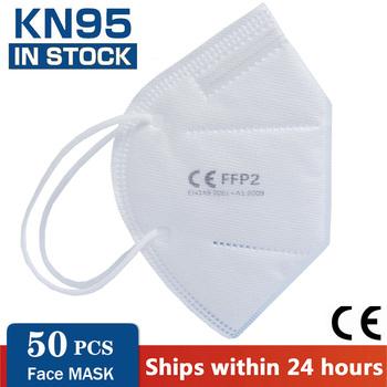 50 sztuk wielokrotnego użytku usta czapki ochronne maski na twarz dla ochrony wirusa 5 warstwy maska FFP2 KN95 maska filtry usta maska pokrywa tanie i dobre opinie NoEnName_Null Chin kontynentalnych Personal Jednorazowego użytku Dla dorosłych