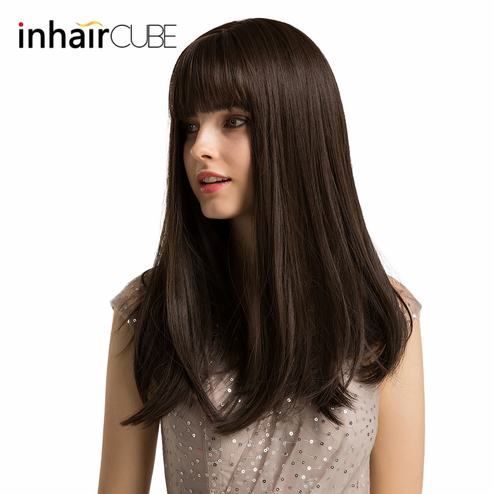 Inhaircube Long Straight Synthetic Hair Dark Brown Hair Party Daily Real Scalp With Bangs 20