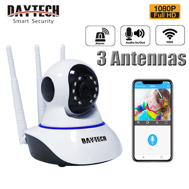 DAYTECH IP Camera 3 Antenna Security Camera 1080P Wifi Camera CCTV Detection Movement Camera (DT-C8826)l(C8826)