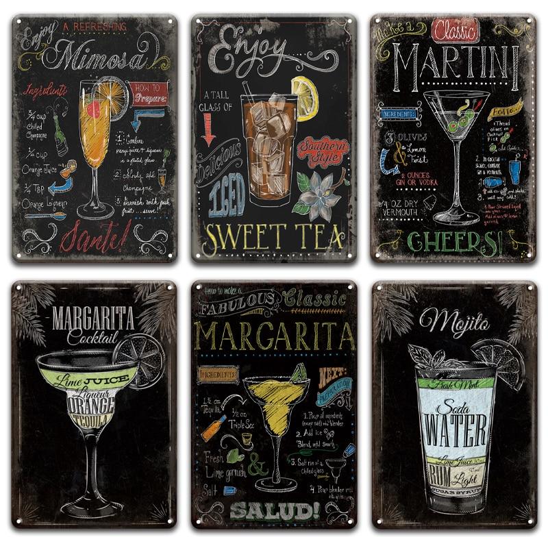 Mojito Martini de arte de pared de Metal estaño signo Pub irlandés cocina decoración Chic estaño Placa de pared Retro Bar cafetería restaurante Decoración