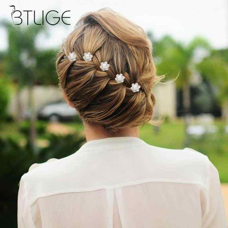6+1 Hair Pins Lady Spiral Clip Fork Flower Plate Hair Flower Pearl Screw Clip Hair Pins Wedding Hair Accessorie
