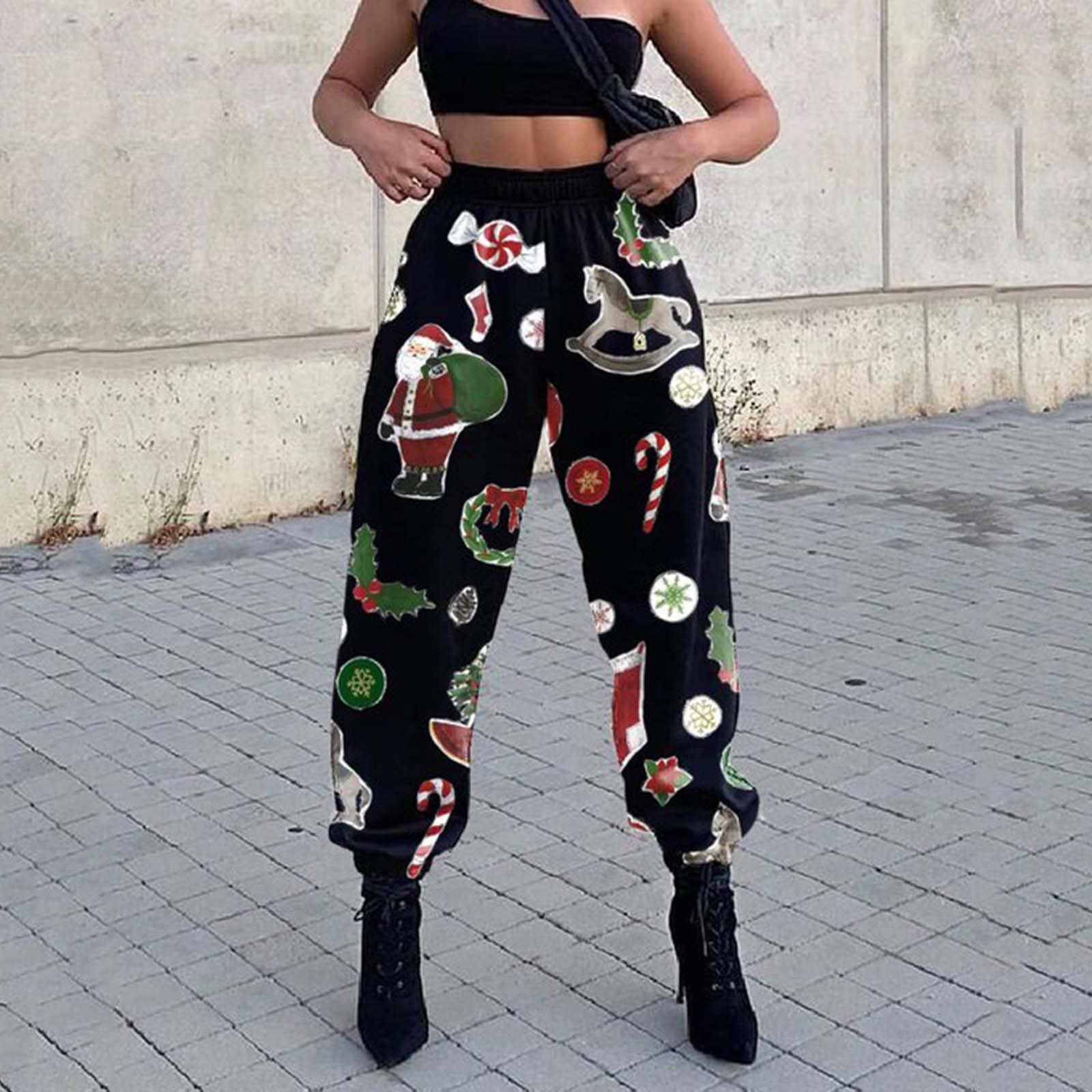 Joggers Women Christmas Treetop Print Pocket Sports Running Plus Size Athletic Pants Pantalones De Mujer Pantalon Femme Pants Capris Aliexpress