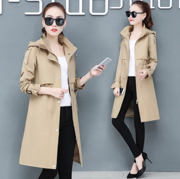 #3518 Spring Autumn 2020 Trench Coat For Women Red White Khaki Long Coat With Hooded Plus Size 4XL Casual Windbreaker Coat Woman