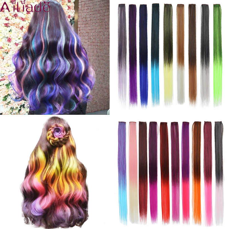 AILIADE Hair Clip Extensions 22Inch Ombre Rainboow Long Straight Hair Hairpieces For Women Synthetic False Hair With Clip