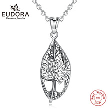 EUDORA Sterling Silver Tree of life Vintage Leaf Pendant Necklace Oxidized silver foliage Necklaces Fine Jewelry for women D452 a0d452 d452a d452
