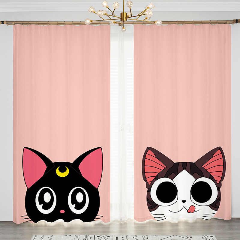 Anime Sailor Moon Luna Cat Pink 2 Panels Set Window Curtain Block Out Fabric Drapes Darkening Living Bedroom Kids Boy Curtains Aliexpress