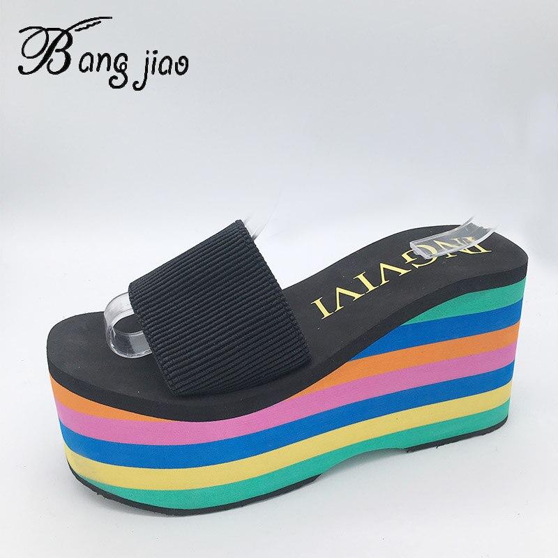 Image 2 - High quality EVA Sole Women Rainbow stripes Slides Platform Wedge Thick Bottom Shoes High Heels sandals slippersSlippers   -