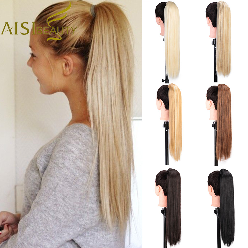 AISI BEAUTY Long Wrap On Synthetic Straight Ponytails For Women Natural Clip In Hair Extension Hairpieces Blonde False Hair