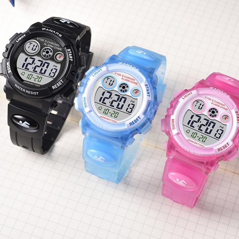 SYNOKE Бренд Дети Часы LED Цифровой Дети Часы Мальчики И Девочка Студент Многофункциональный Качество Синий Хронометр Наручные часы