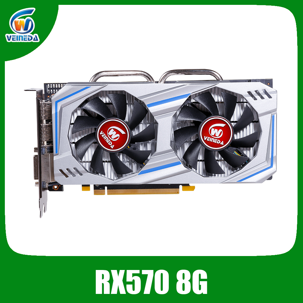 Veineda Video Card Radeon RX 570 8GB 256Bit GDDR5 1244/7000MHz Graphics Card PC Gaming for nVIDIA Geforce Games rx 570 8gbGraphics Cards   -
