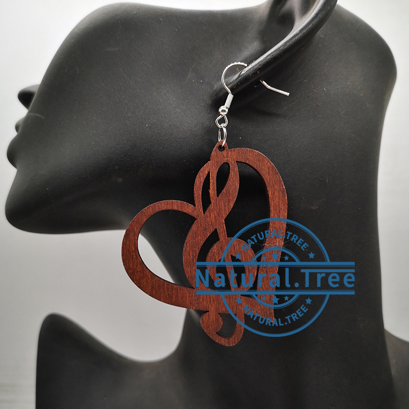 2020 musical note wooden earrings can mixed 3 colors