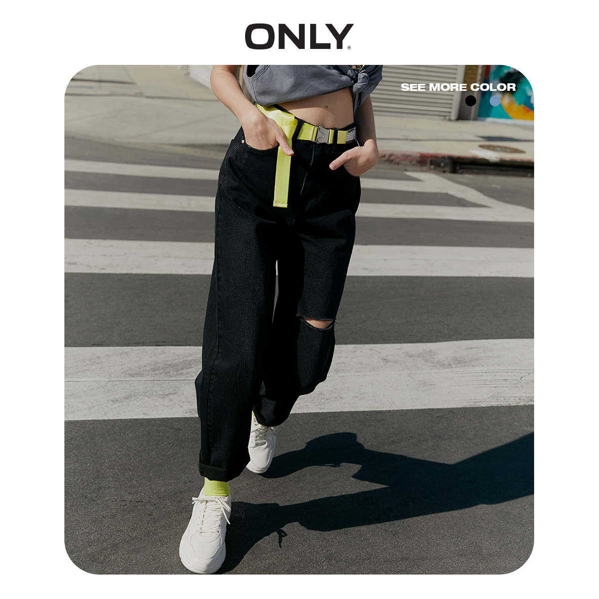 ONLY Women's Loose Straight Fit High-rise Ripped Roll-up Crop Jeans | 120149661