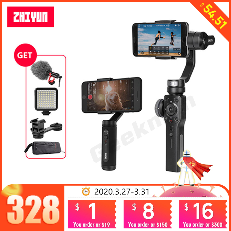 Zhiyun Smooth 4 with Adapter Ring for Mic,3-Axis Handheld Gimbal Stabilizer w//Focus Pull /& Zoom for iPhone Xs Max Xr X 8 Plus 7 6 SE Android Smartphone Samsung Galaxy S9 S9 S8 S8 S7 S6 Q2 Edge Black