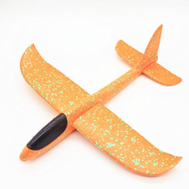 35 см детские игрушки «сделай сам» ручной бросок летающий самолет s пена модель аэроплана светится в темноте Летающий Plane Самолет игрушки для детей - Цвет: 48cm Not Lamp Orange