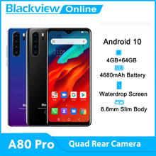 Blackview A80 Pro Globale Version Quad Kamera Handy 6.49 ''Waterdrop 4GB + 64GB Octa Core Android 10 4680mAh 4G Handy
