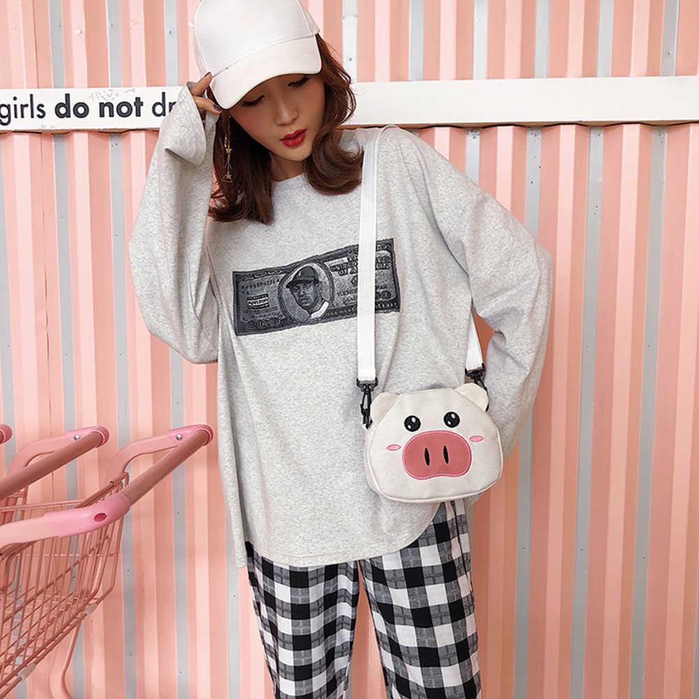 Mädchen Niedliche Cartoon-Taschen Für Frauen Leinwand Casual Schulter Tasche Mini Schwein Handtaschen Kleine Paket kinder Umhängetaschen