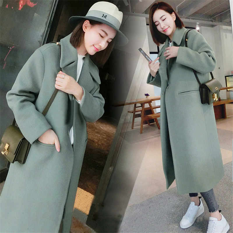 Tom Hagen Woman Coats Winter Korean Wool Coat Warm Causal Long Coat Slim Thicken Coat Plus Size Grey Coat Long Poncho Coat Women